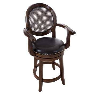 44.5 in. Dark Brown Wood and Leather Swivel Stool with Armrests