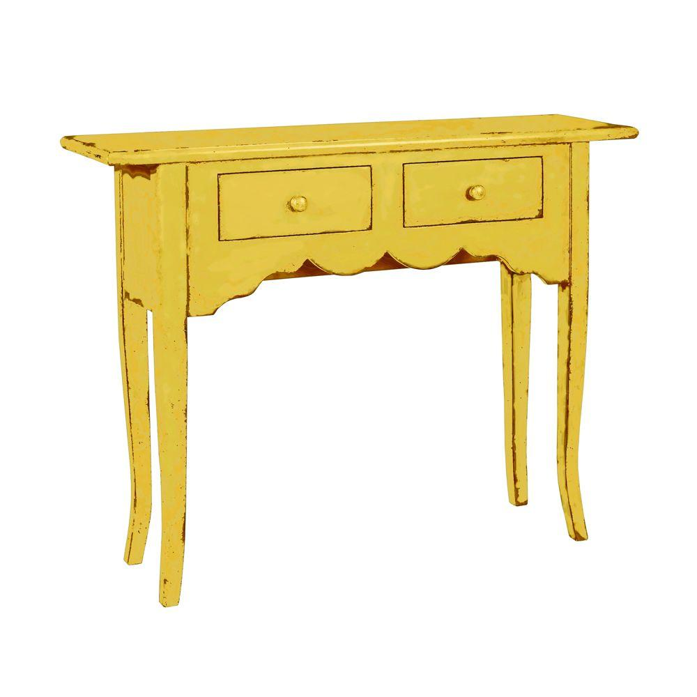 Home Decorators Collection Emily Antique Yellow Console Table