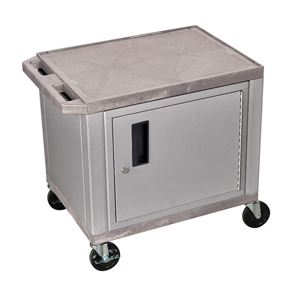 WT 26 in. A/V Cart with Nickel ColoRed Cabinet, Gray Shelves
