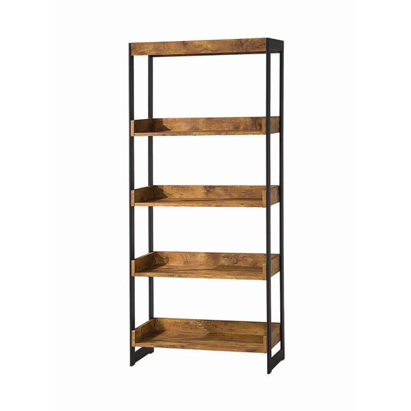 7.87 in. Antique Nutmeg/Gunmetal Metal 4-shelf Etagere Bookcase with Open Back