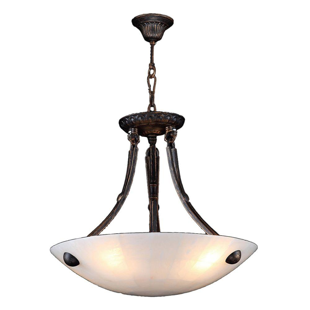 Worldwide Lighting Pompeii Collection 4-Light Flemish Brass Bowl Pendant with Natural Quartz