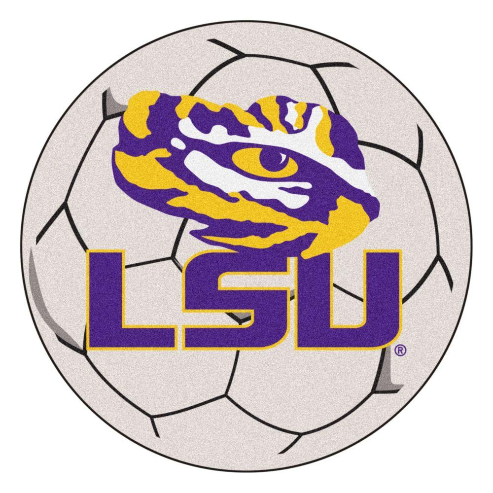 Ncaa Louisiana State University Cream (Ivory) 2 ft. 3 in. x 2 ft. 3 in. Round Accent Rug