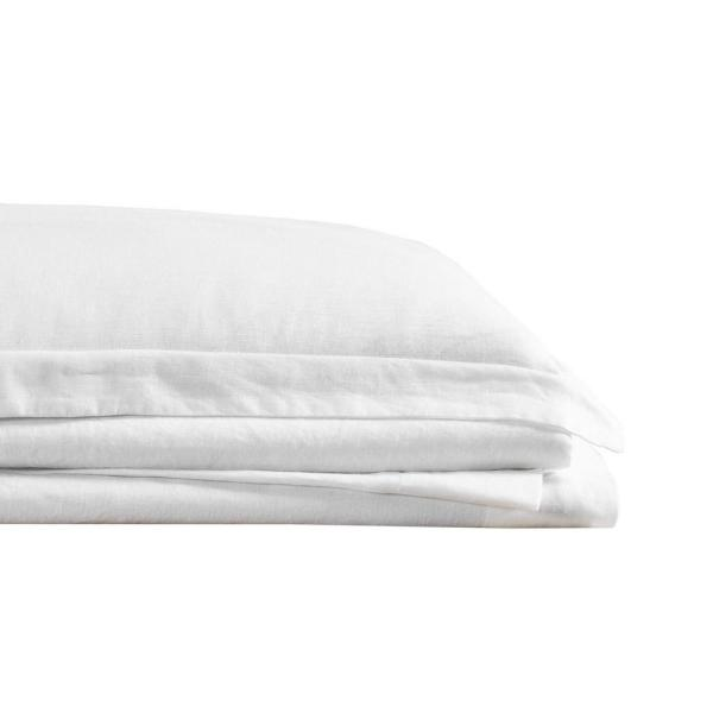 Flax Linen 4-Piece White Solid 300 Thread Count Queen Sheet Set