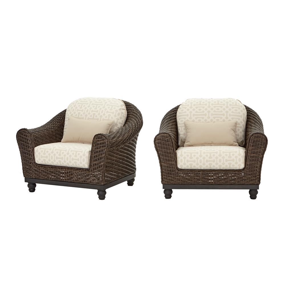 Home Decorators Collection Camden Dark Brown Wicker Outdoor Patio Lounge Chair with Sunbrella Antique Beige & Fretwork Flax Cushions (2-Pack)