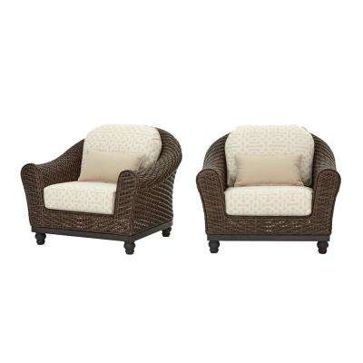 Camden Dark Brown Wicker Outdoor Patio Lounge Chair with Sunbrella Antique Beige & Fretwork Flax Cushions (2-Pack)