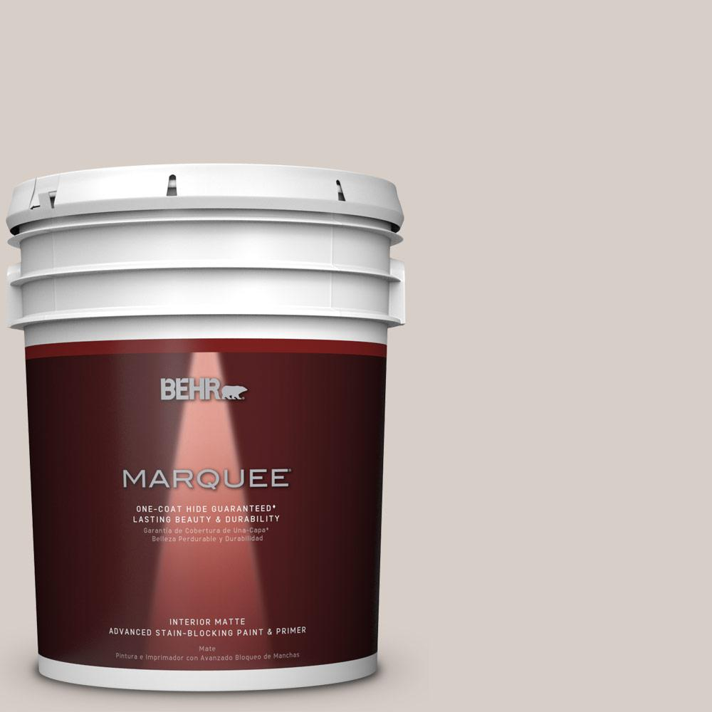 Behr Marquee 5 Gal Mq3 6 Granite Dust One Coat Hide Matte Interior Paint 145005 The Home Depot