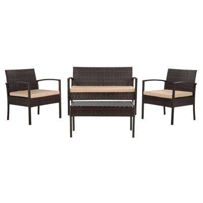 Mattia Brown 4-Piece Wicker Patio Conversation Set with Beige Cushions