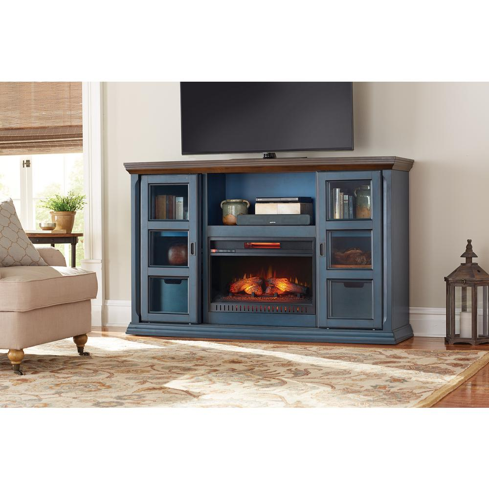Annex a royal look to your home with Home Decorators Collection Arabian Tall TV Stand Infrared Electric Fireplace in Antique Blue Finish.