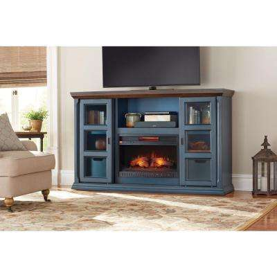 Arabian Tall 65 in. TV Stand Infrared Electric Fireplace in Antique Blue Finish
