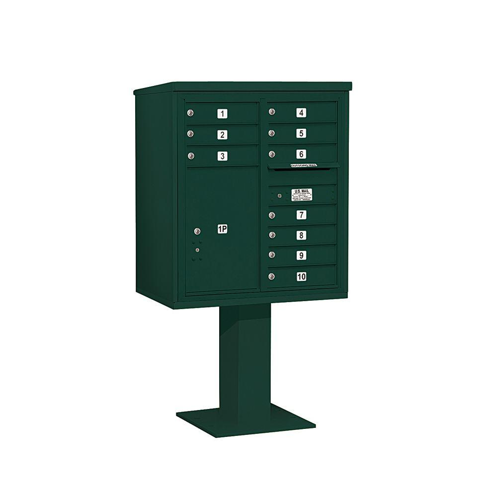 3400 Series Green Mount 4C Pedestal Mailbox with 10 MB1 Doors/1