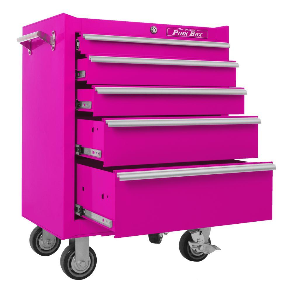 The Original Pink Box 26 in. 5-Drawer Roll Away Cabinet with Pink
