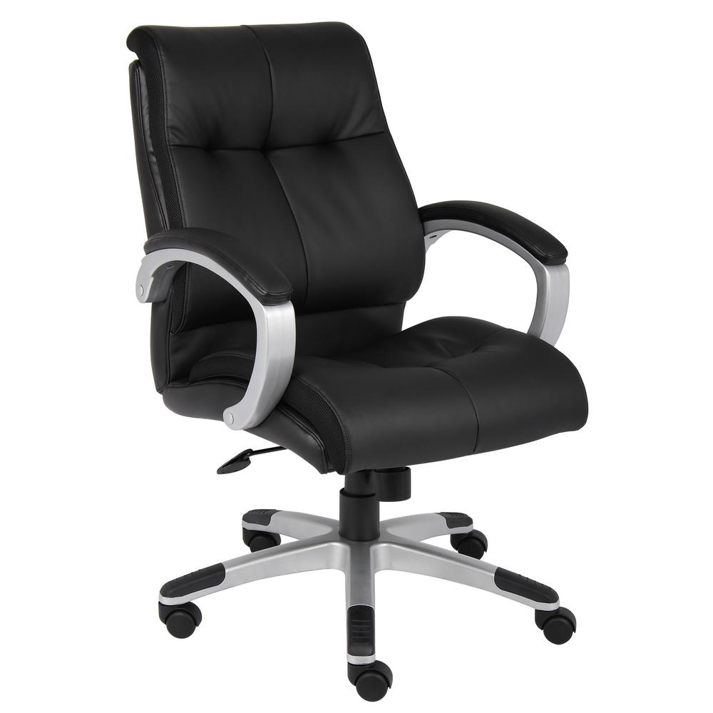 Black Double Plush Mid Back Executive Chair