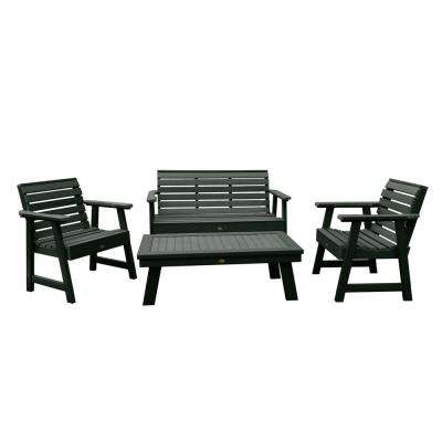 Weatherly Charleston Green 4-Piece Recycled Plastic Outdoor Conversation Set