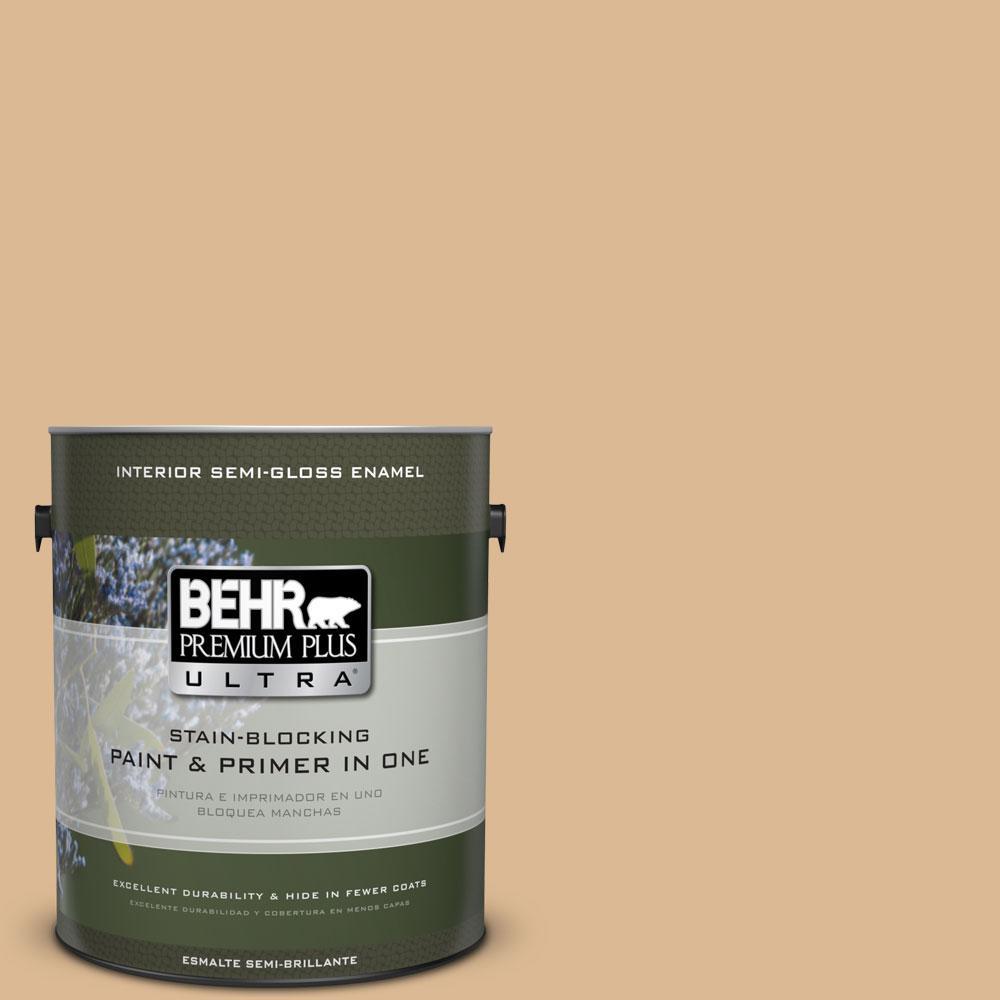 1 gal. #PMD-69 Jute Semi-Gloss Enamel Interior Paint and Primer in