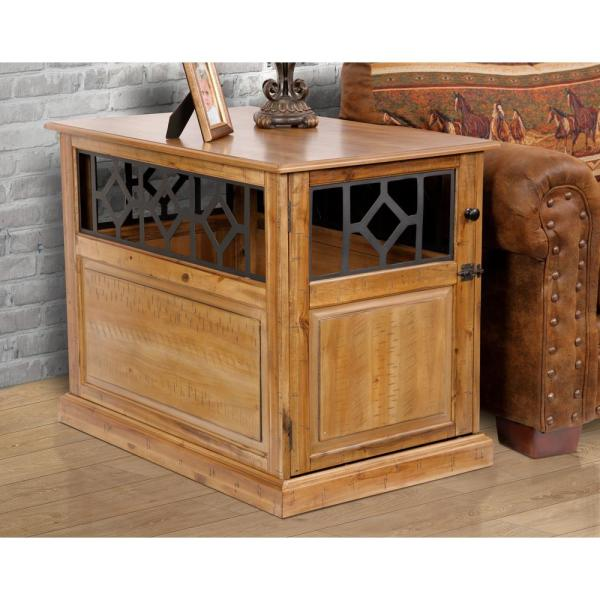 Charmant OS Home Large Sized Real Acacia Wood Dog Crate End Table With Raised Panel  Door And Metal Accents