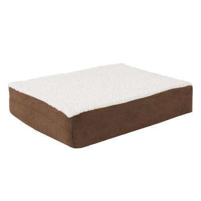 Small Brown Orthopedic Sherpa Pet Bed