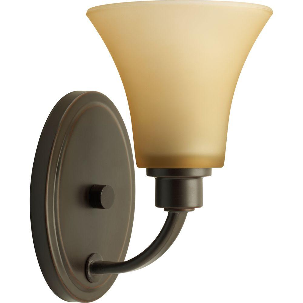 Joy Collection 1-Light Antique Bronze Bath Sconce with Etched Light Umber