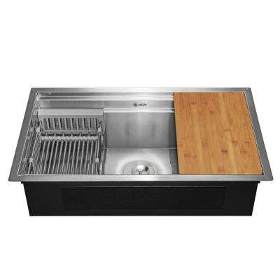 Handcrafted All-in-One Undermount 32 in. x 18 in. x 9 in. Single Bowl Kitchen Sink in Stainless Steel with Accessories