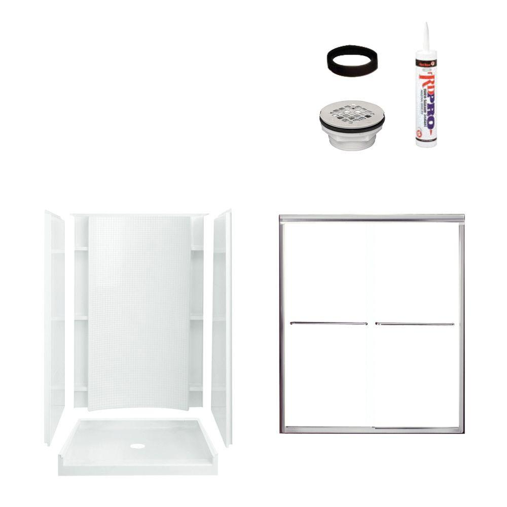 STERLING Accord 36 in. x 48 in. x 77 in. Shower Kit with Shower Door in White/Chrome-DISCONTINUED