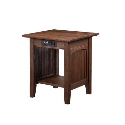 Nantucket Burnt Amber End Table with Charging Station