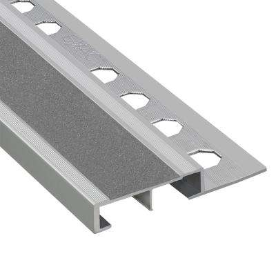 Novopeldano Safety Plus Matt Silver-Grey 3/8 in. x 98-1/2 in. Aluminum Tile Edging Trim