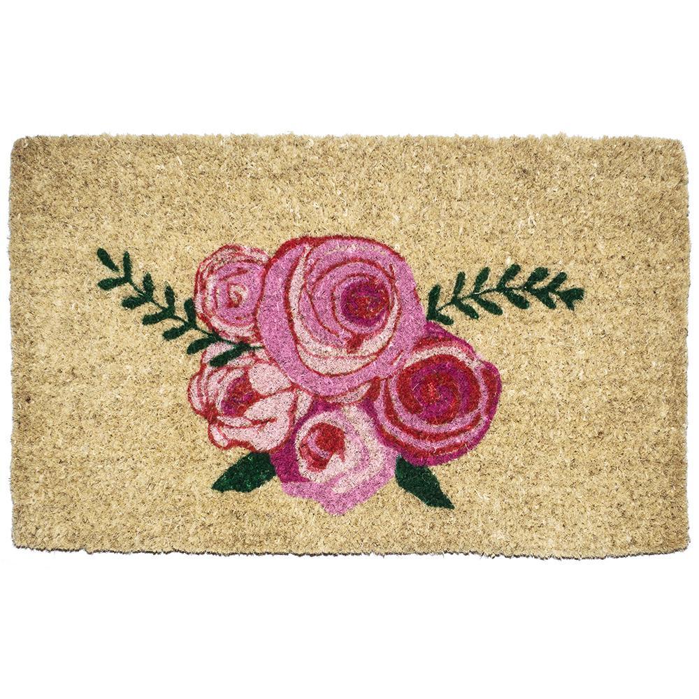 Roses 18 in. x 30 in. Hand Woven Coconut Fiber Door Mat