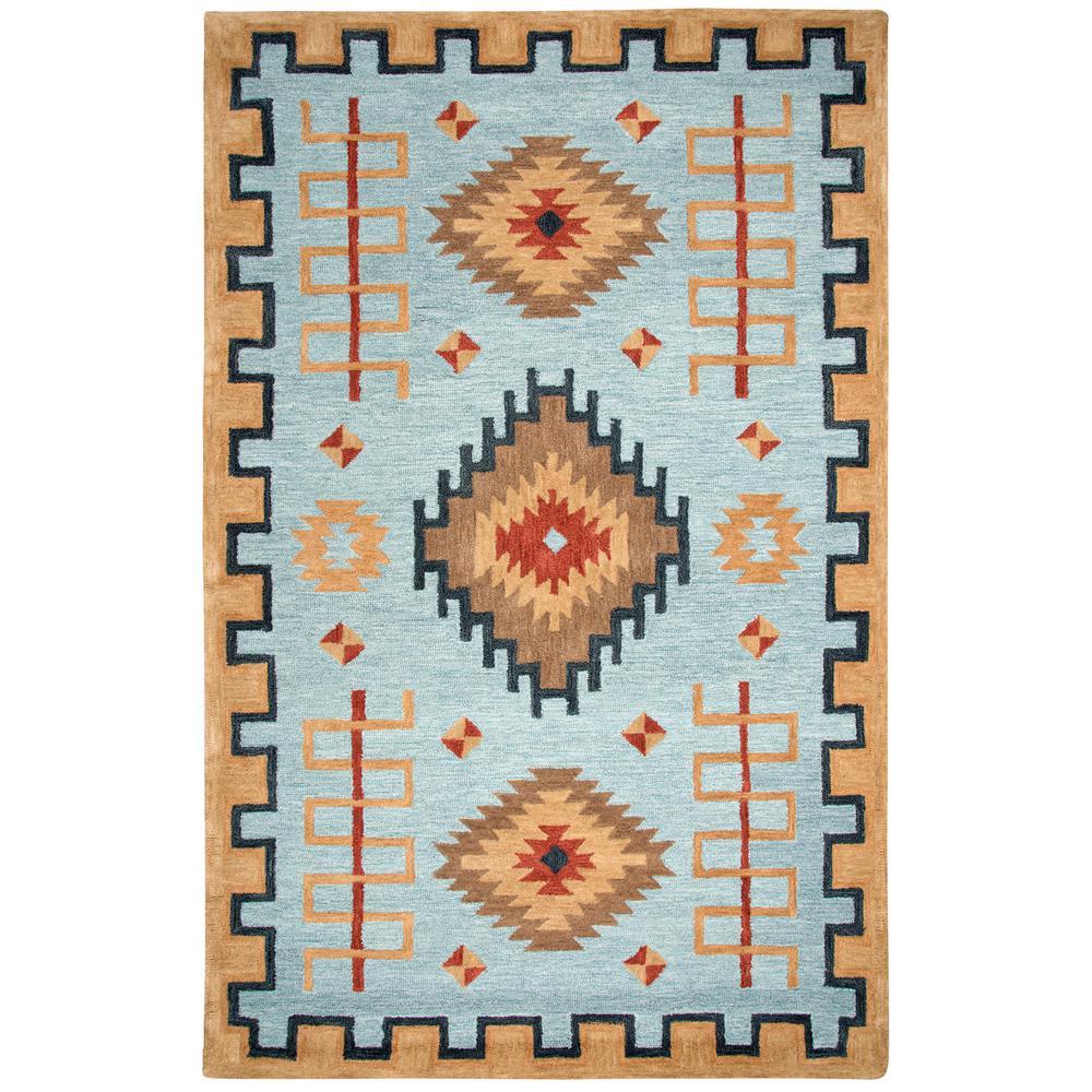 Unbranded - Durango Light Blue/Multi-Color 5 ft. x 8 ft. Native American Area Rug