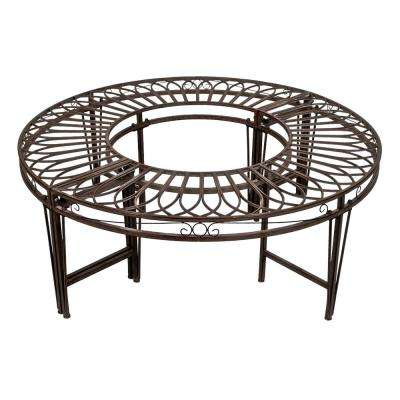 Gothic Roundabout 2-Person 47 in. W Black Steel Outdoor Bench
