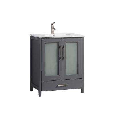 Arezzo 24 in. W x 18 in. D x 36 in. H Vanity in Grey with Porcelain Vanity Top in White with White Basin