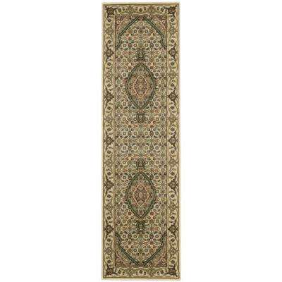 Persian Arts Ivory 2 ft. x 12 ft. Runner Rug
