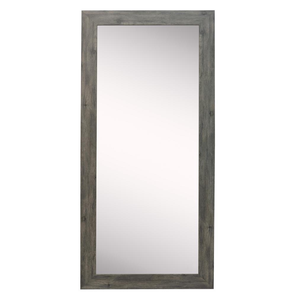 64 in. x 26 in. Gray Barnwood Beveled Vanity Wall Mirror