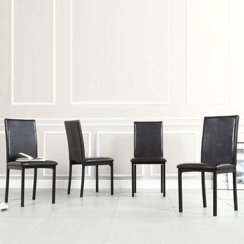 homesullivan bedford black faux leather dining chair set of 4 402601s4pc the home depot - Dining Chairs Set Of 4