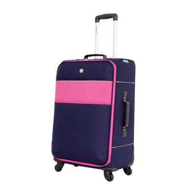 24 in. Upright Spinner Suitcase in Navy and Pink