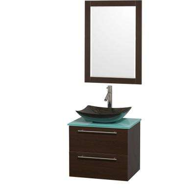 Amare 24 in. Vanity in Espresso with Glass Vanity Top in Green, Granite Sink and 24 in. Mirror