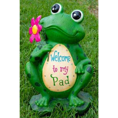 18 in. Welcome to My Pad Frog Statuary