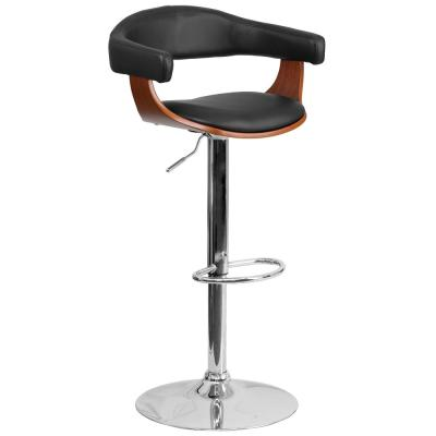 Adjustable Height Walnut Bentwood Barstool with Upholstered Wrap Style Arms and Black Vinyl Seat