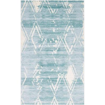 Uptown Collection by Jill Zarin Carnegie Hill Turquoise 5' 0 x 8' 0 Area Rug