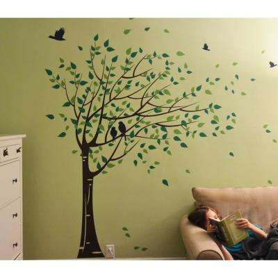75 in. x 78 in. Black Trunk, Lime Green and Dark Green Leaves Gone with the Wind Tree Removable Wall Decal