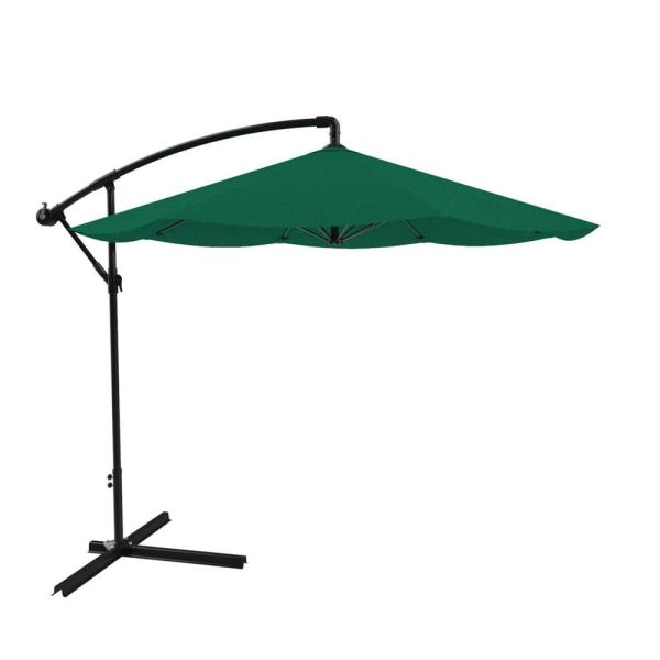10 ft. Hanging Cantilever Patio Umbrella in Hunter Green