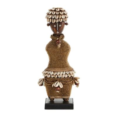 Litton Lane Small Hand-Crafted Pine Wood, Cowrie Shells, Gold Beads and Kente Cloth African Woman Namji Doll, Brown