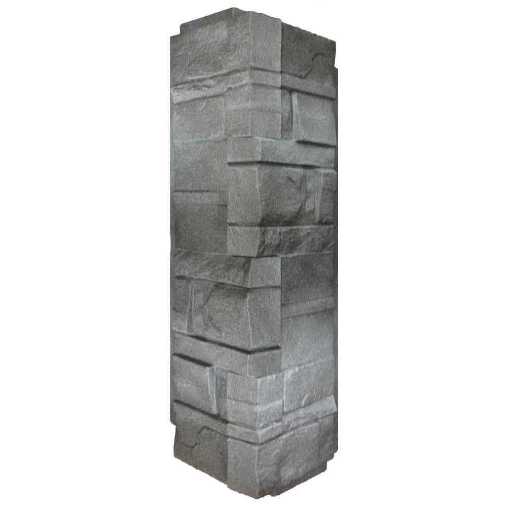 5.88 in. x 16 in. Dry Stacked Stone Corner Vinyl Siding in Anthracite (5-Case)