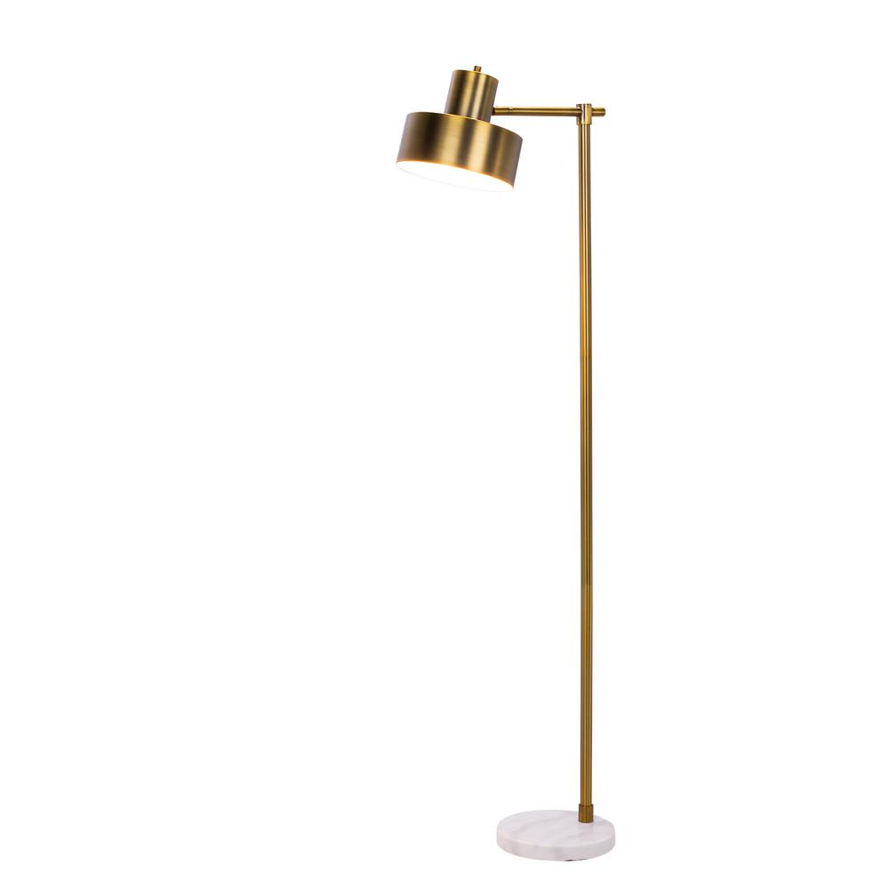 Fangio lighting 62 in marble and antique brass metal for Antique brass spiral floor lamp