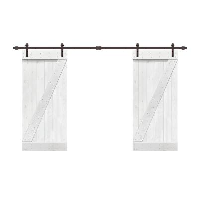 48 in. x 84 in. Z Bar Series White Stained Solid Pine Wood Interior Double Sliding Barn Door with Hardware Kit