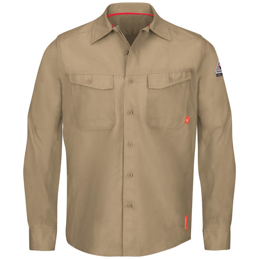 5499f6a7a97 Bulwark iQ Series Men s Large Khaki Endurance Work Shirt-QS40KH RG L ...