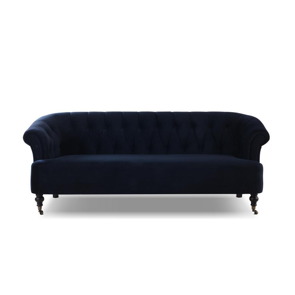 Maxine Dark Navy Blue Tufted Upholstered Sofa