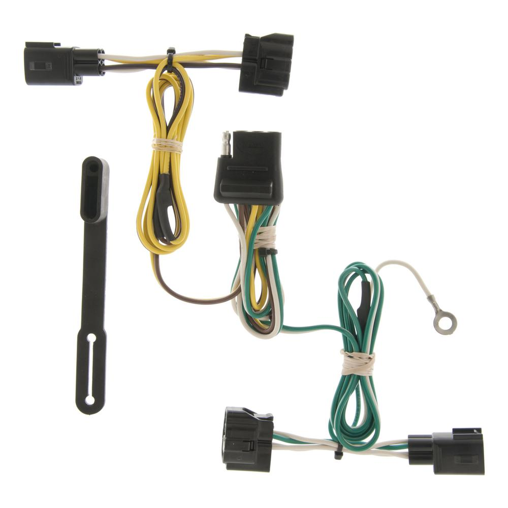 curt custom vehicle-trailer wiring harness, 4-way flat output, select jeep  wrangler tj, quick electrical wire t-connector-55363 - the home depot  the home depot