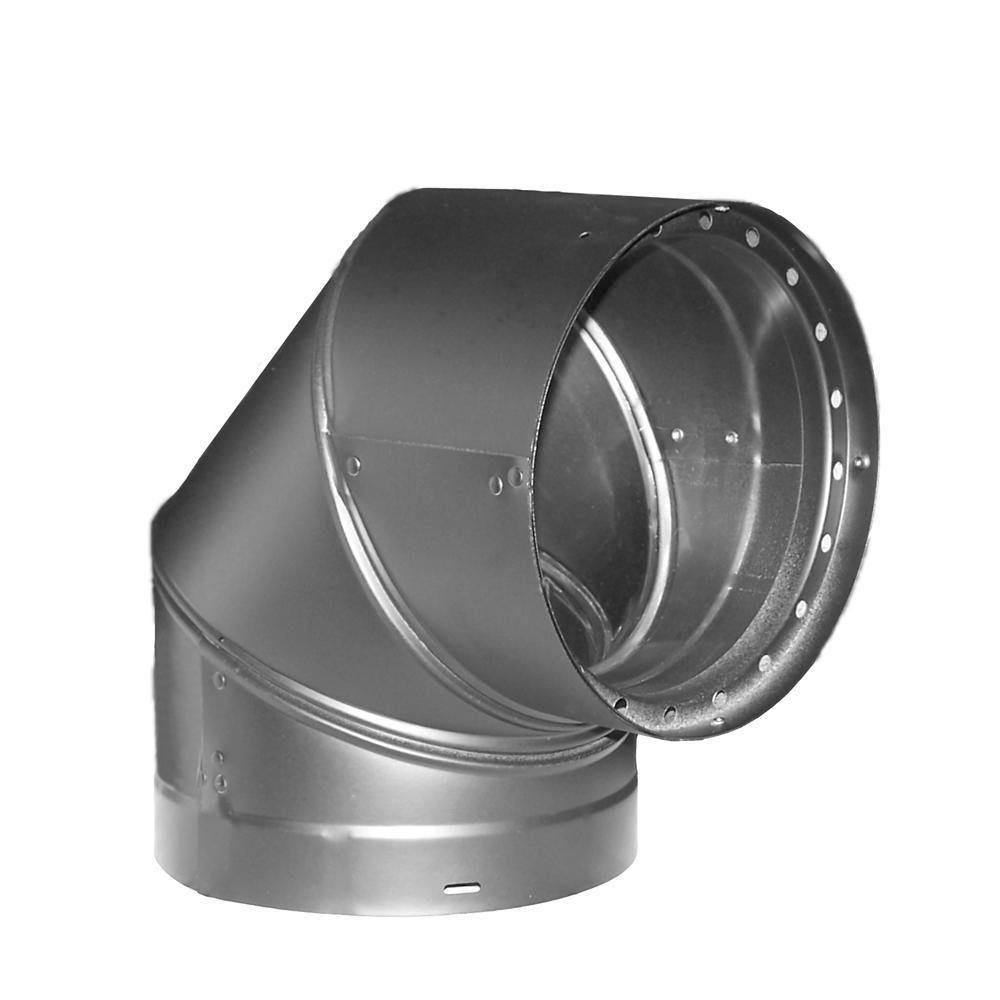 DVL 6 in. 90° Double-Wall Elbow in Black