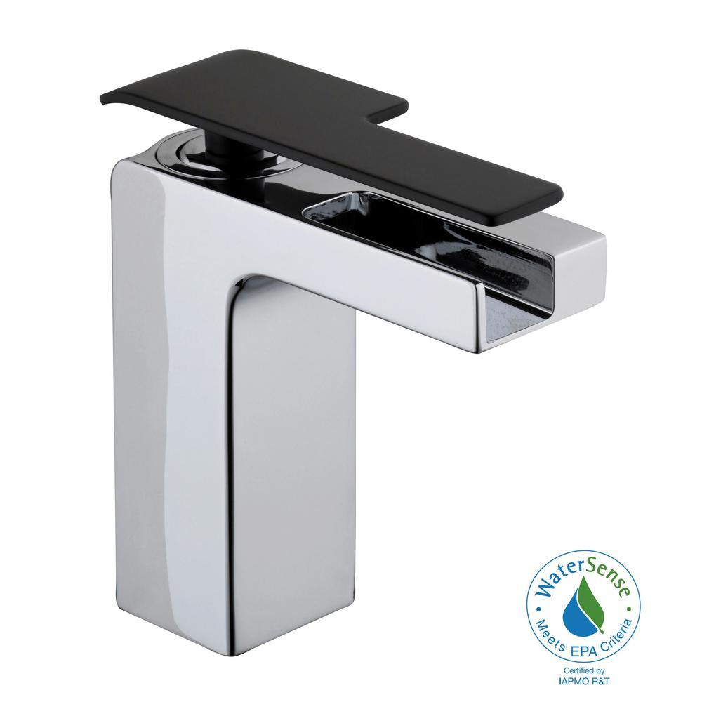 Femke Single Hole Single-Handle Low-Arc Bathroom Faucet in Chrome and Matte Black