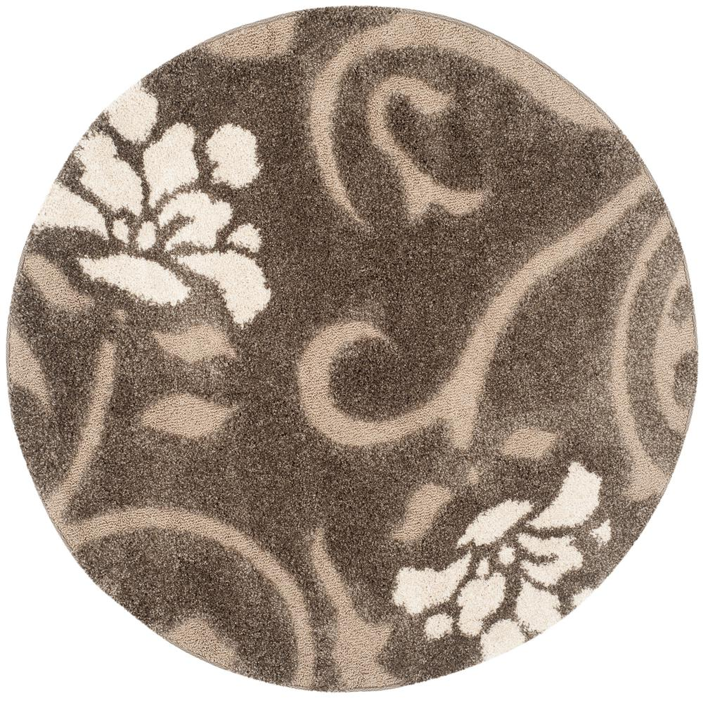 Florida Shag Smoke/Beige 8 ft. x 8 ft. Round Area Rug