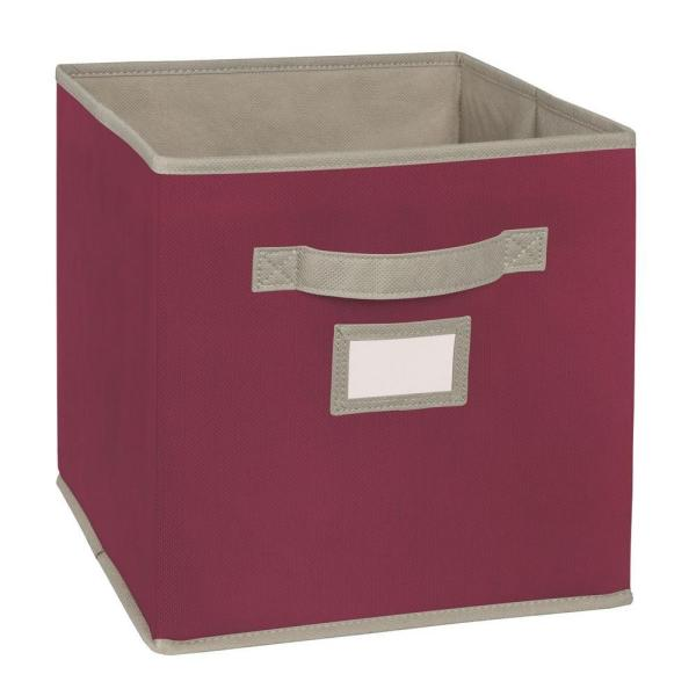 11 in. D x 11 in. H x 11 in. W Purple Fabric Cube Storage Bin